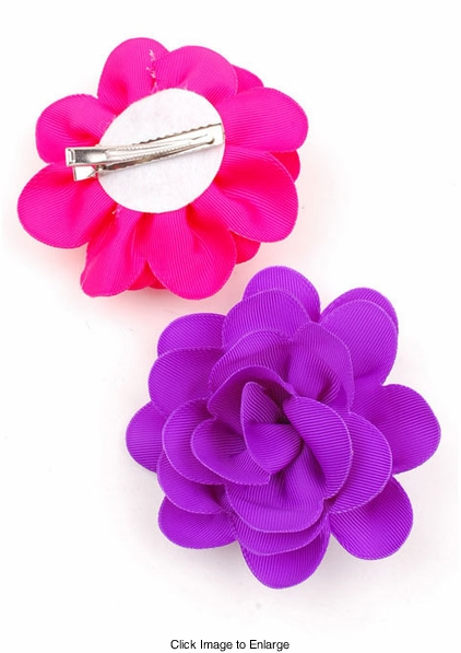"""4"""" Scalloped Edge Ribbon Flower Hair Clip (available in 9 colors)"""
