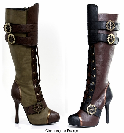 "4"" Stiletto Heel Steampunk Boots"