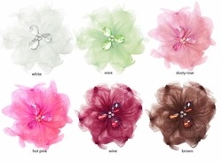 "4"" Tulle and Crystal Hair Clip (available in 6 colors)"