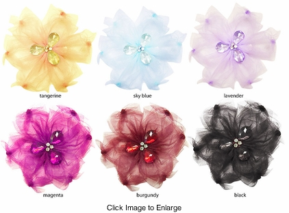 """4"""" Tulle and Crystal Hair Clip (available in 6 colors)"""