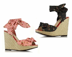 "4"" Wedge Sandals with Retro Strawberry Print and Ankle Wrap"