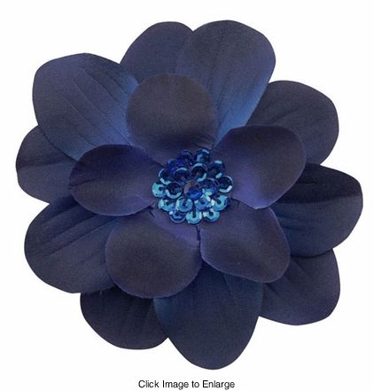 "4"" Wide Flower Hair Clip with Sequin Center"