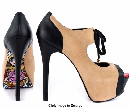 "5.15"" Stiletto Heel Shoes Nesta with Matrjoshka Sole Print in Nude & Black"