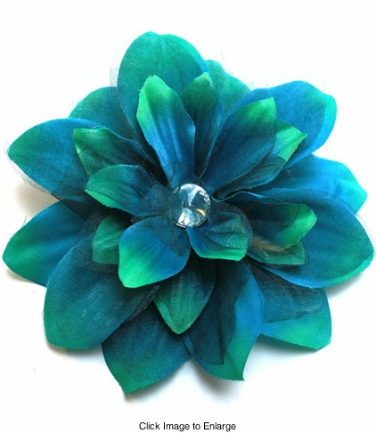 """5.5"""" Flower Hair Clip with Crystal Center (available in  6 colors)"""
