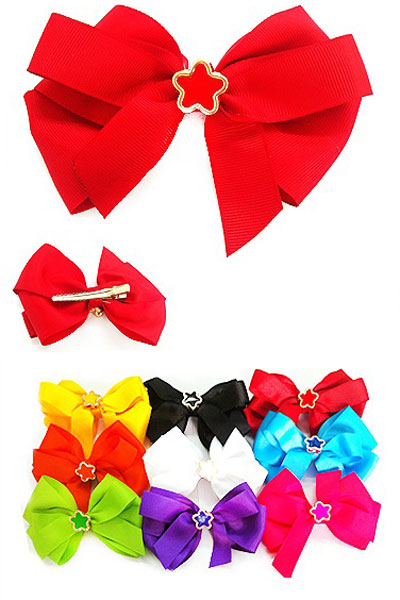 "5"" Bow Hair Clip with Flower Charm"
