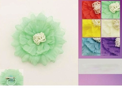 "5"" Chiffon and Pearls Flower Hair Clip"