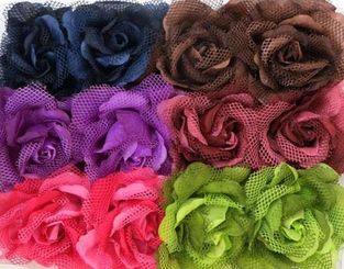 """5"""" Large Rose Flower Hair Clip with Net"""