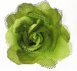 "5"" Large Rose Flower Hair Clip with Net"