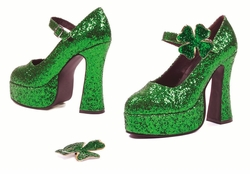 "5"" Lucky Green Glitter Pump Shoes with Shamrock"