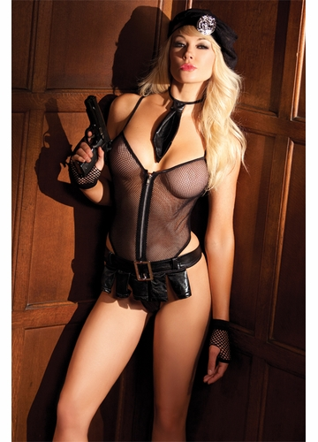 5-Piece Bedroom Cop Costume with Bodysuit, Skirt, Hat, Tie and Badge