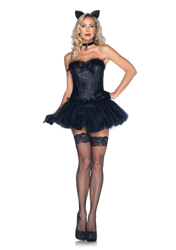 5-Piece Black Cat Babe Corset Costume