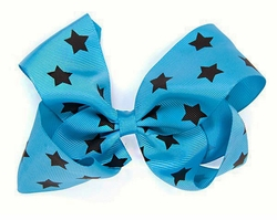 "5"" Ribbon Bow Hair Clip with Stars"