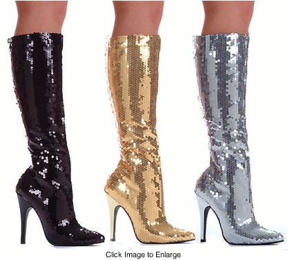 "5"" Stiletto Heel Sequin Knee High Boots"