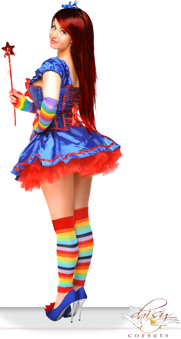 6-Piece Sexy Rainbow Brite Girl Corset Costume