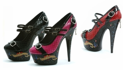 "6"" Stiletto Heeel Quilted Pumps with Tattoo Print"