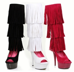 "6"" Stiletto Heel Fringe Knee High Boots with Back Zipper"