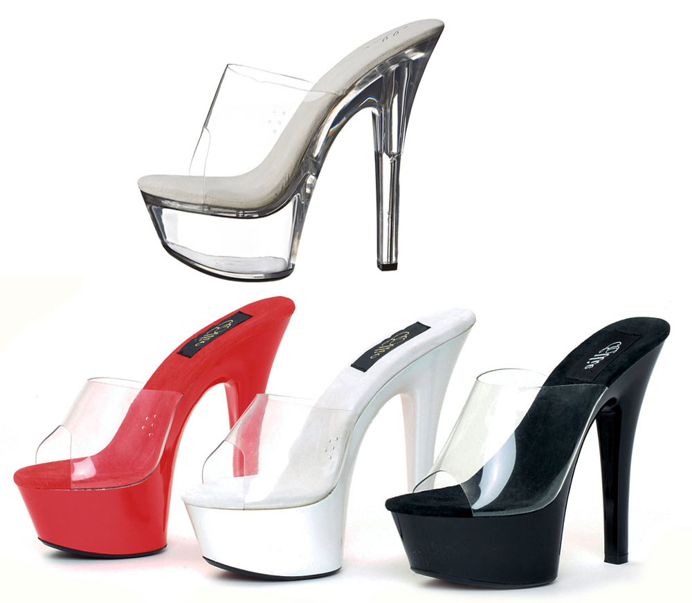 6 quot stiletto heel platform shoes with clear