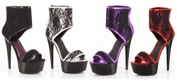 "6"" Stiletto Heel Platform Shoes with Lace Overlay Ankle Strap"