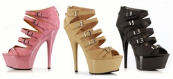"6"" Stiletto Heel Platform Shoes with Multiple Buckles"
