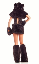 8-Piece Black Bear Faux Fur Corset Costume