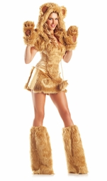 8-Piece Golden Bear Corset Faux Fur Costume