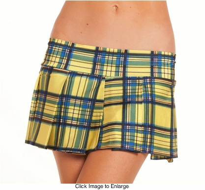 "9"" Long Yellow Plaid Checkered Mini Skirt"