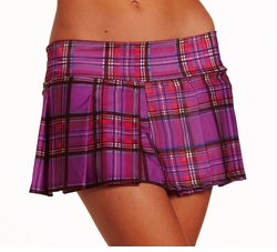 "9"" Purple Checker Plaid Mini Skirt"