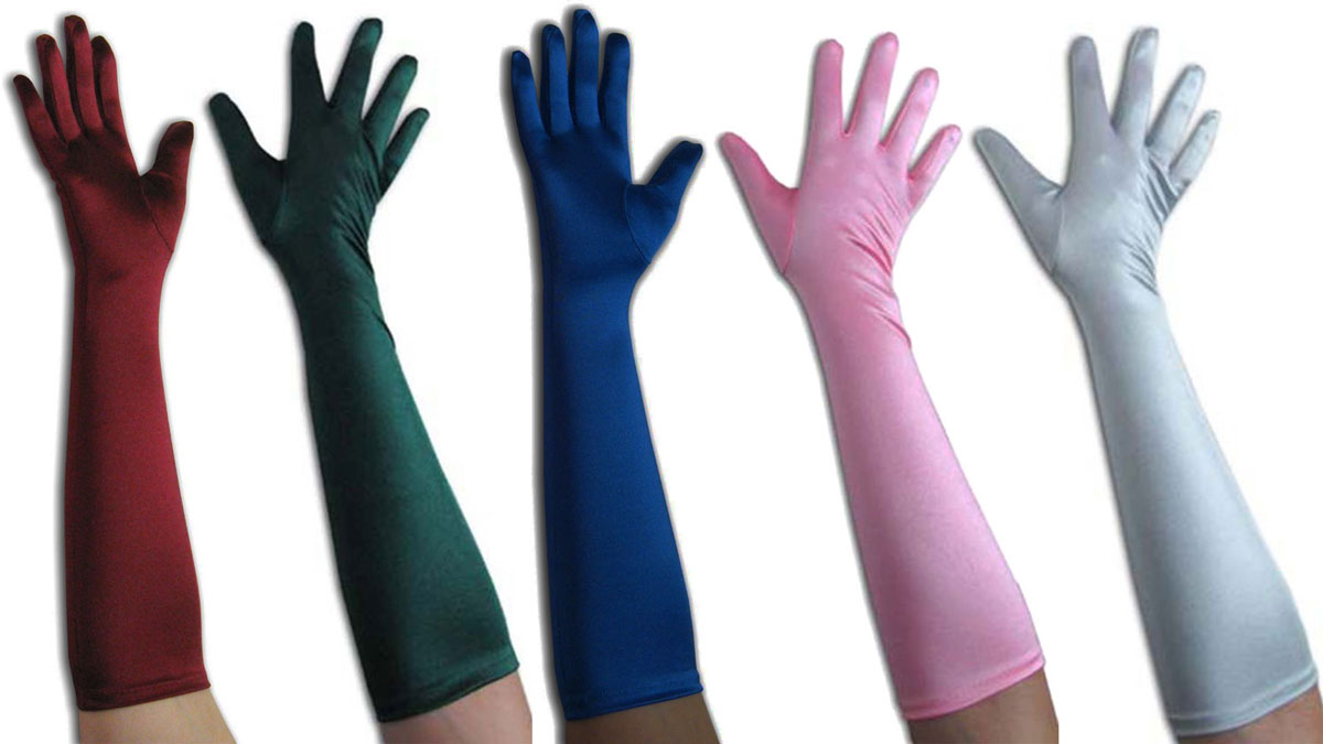 Above Elbow Satin Gloves