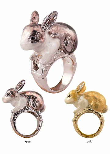 Alice in Wonderland Bunny Ring in Enamel with Crystals