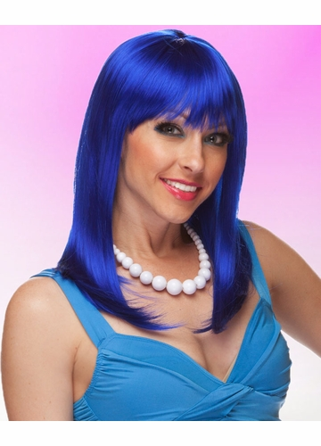 Dark Blue Wig Hollywood with Full Bangs