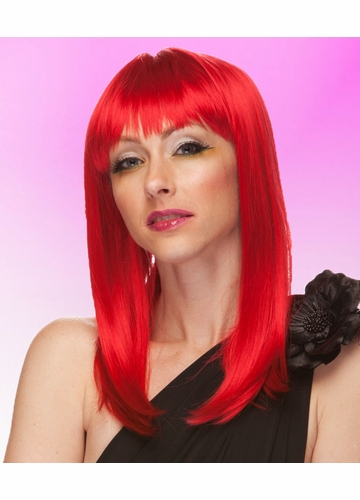 Red Wig Hollywood with Full Bangs