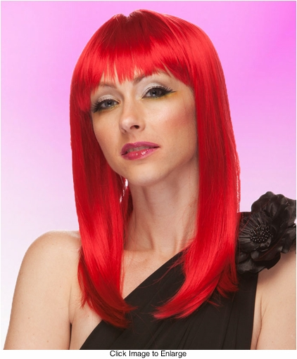 Alluring Shoulder Length Wig with Full Bangs in Firecracker Red