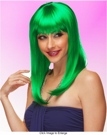 Alluring Shoulder Length Wig with Full Bangs in Green