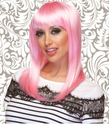 Alluring Shoulder Length Wig with Full Bangs in Light Pink