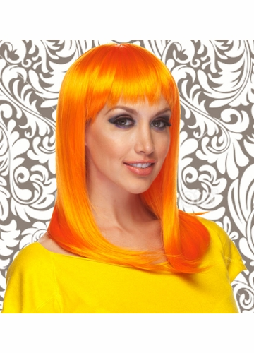 Alluring Shoulder Length Wig with Full Bangs in Neon Orange