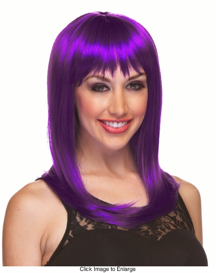 Alluring Shoulder Length Wig with Full Bangs in Purple