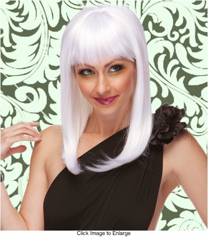 Alluring Shoulder Length Wig with Full Bangs in White