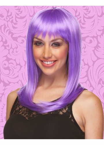 Anime Shoulder Length Wig with Full Bangs in Lavender Purple
