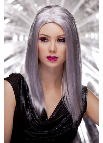 Anime Straight Wig with Razored Edges in Chrome