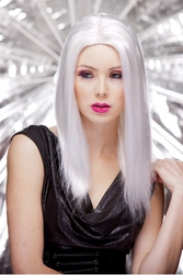 Anime Straight Wig with Razored Edges in White
