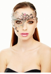 Asymmetric Mascarade Mask with Crystal Gems
