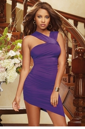 Asymmetric Purple Mini Dress