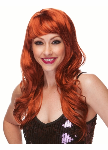 Auburn Red Long Curl Burlesque Wig