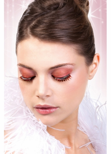 Beige Lashes with Red Crystals