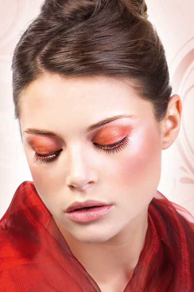 Bejeweled Black False Lashes with Red Crystals