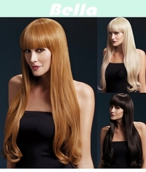 Bella-Long Natural Wave Wig with Bangs