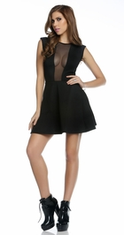Black A-line Dress with Mesh Inset and Back