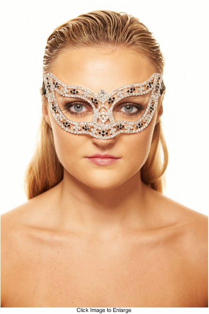 Black and Clear Crystal Masquerade Mask