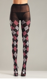 Black and Pink Argyle Tights