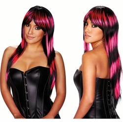 Black and Pink Deluxe Long Wig